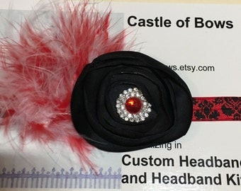 Red and Black Damask Headband with Red and White Maribou Puff, Black Flower and Rhinestone Center
