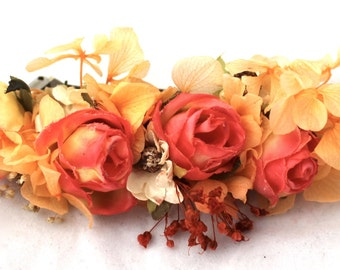 orange,roses,flower,dried,preserved,natural,barrette,clip,hair,accesorie,cream, orange,green,yellow,boho,chic,wild,forest,magic