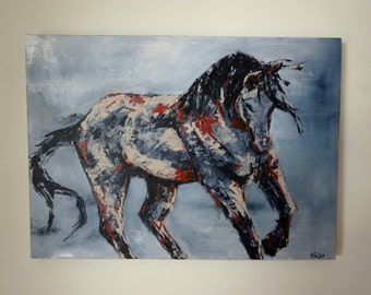 Horse Painting Abstract Modern Contemporary Art Original Painting on Canvas Palette Knife Painting Abstract Art Horse