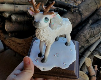 SALE! Aura white reindeer polymer clay figure//aura crystal//holiday gifts//handmade//sculpture