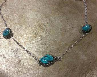 Vintage Navajo Sterling Turquoise Necklace