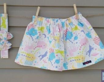 Skirt and headband - all - girl (baby and child) - unicorns / Skirt and headband - set - girl (baby and toddler) - Unicorns