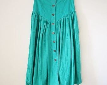 Emerald green High waist 80s cotton midi skirt, Small Medium 3817
