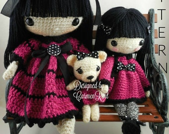 "Leila 17"" , Pippa 11 1/2 "" and their Teddy Bear- Amigurumi Doll Crochet Pattern PDF"