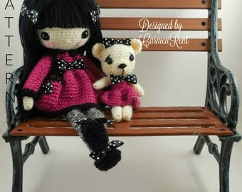 "Pippa 11 1/12"" and her Teddy Bear-Amigurumi Doll Crochet Pattern PDF"