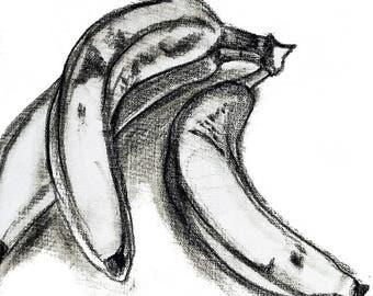 A3 Original Art Poster, Banana Wall Hanging Decor, Food Drawing Sketch Print