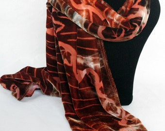 Autumnal Colours Hand-Dyed Devore Silk Velvet Scarf with Ivy Leaf Design Perfect Gift for Valentine's/Mother's Day/Birthday/Christmas