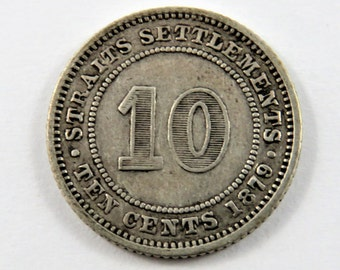 Straits Settlements 1879 H Silver 10 Cents Coin.