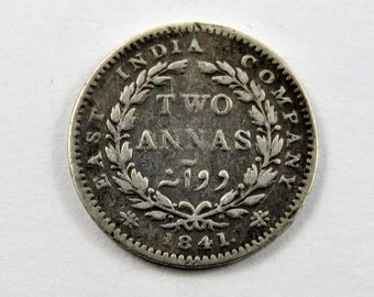India-British 1841 Silver 2 Annas Coin.Issuer: East India Company