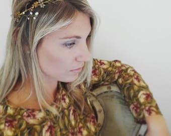 "Wedding ""Floriana Crown"", bridal headpiece, hairvine, flower crown, vintage hairstyle, Made in italy"