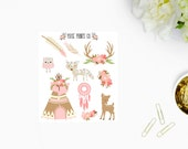 Whimsical Tribe Deco Stickers for use with, Erin Condren, Life Planner, Happy Planner, Mambi, Stickers, Kikki K, Planner Stickers