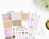 Rustic Pink Sticker Kit, for use with Erin Condren, Planner Stickers, Happy Planner, Mambi