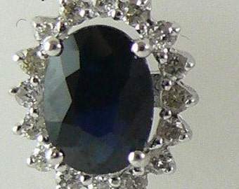 Sapphire Blue 1.95ct Stud Earring 14k White Gold & Diamonds 0.31ct