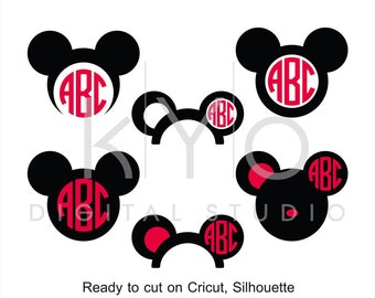 Mickey Ears SVG cut files, Mouse Ears SVG, Mouse Head svg, Mouse monogram, Mickey svg files for Cricut and Silhouette Cameo #svg
