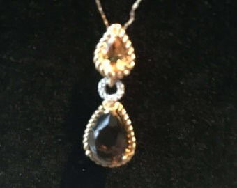 Vintage 10kt Yellow Gold Citrine/Diamond/Smokey Quartz Necklace - AB