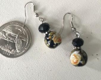 Vintage Sterling Silver Black Bead with Flower Earrings - AB
