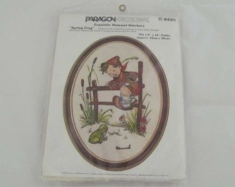 Vintage Crewel Embroidery Kit Paragon Needlecraft Unused Hummel Spring Frog Kit No. 0320 9 in. X 12 in. Oval Wall Decor 1979