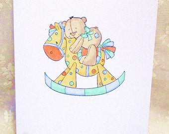 Baby Rocking Horse Card: Add a Greeting or Leave Blank