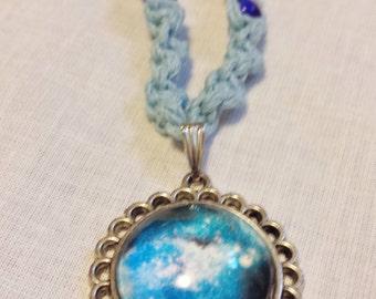 Galaxy Glass Pendant Blue Hemp Necklace