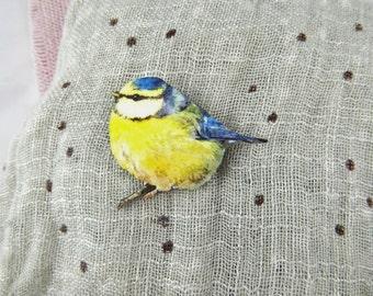 Blue Tit Bird Brooch