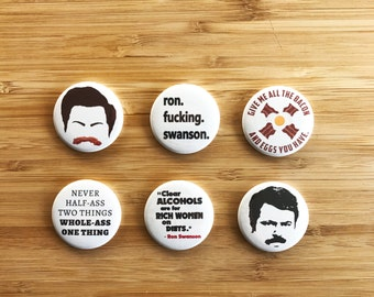 Ron Swanson Button Set, Parks and Rec Magnets, Ron Swanson Gift, Bacon Lover, Men's Birthday Gift, Gift for BF, Gifts for Father, Funny Pins