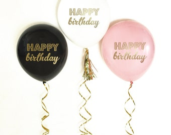 Happy Birthday Balloons | Birthday Party Decorations | 30th Birthday Decoration | 60th Birthday | 40th Birthday | 50th Birthday Decor Black
