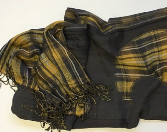 Grey Yellow Reversible High Fashion PAISLEY with CHECK  Scarf