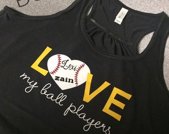 I love my Ball Players Tank, T-shirt, Baseball Tee, Raglan, Baseball MOM,  Heather Gray, Charcoal, Black, Baseball, Softball, Tee,