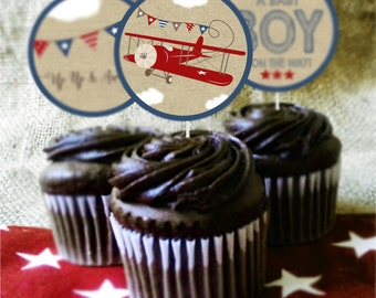 Airplane Baby Shower Cupcake Toppers and Cupcake Wrappers, Vintage Airplane, Red Airplane Decorations, INSTANT DOWNLOAD, Printable, DIGITAL