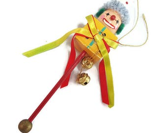 Vintage Wooden Clown Head Christmas Ornament- 1985 Enesco Brand- Jack in the Box- Rattle Style w/ Jingle Bells- Vintage Clown Circus Big Top