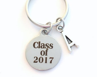 Class of 2017 Keychain, Graduation Gift 2018, 2019, 2020 or 2016 with Initial letter, Grad Key Chain Gift for Graduate Keyring College Charm
