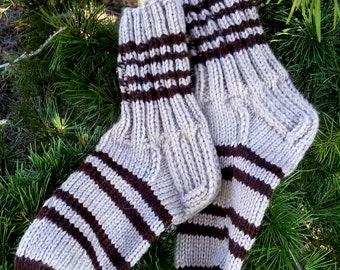Men's Socks Wool Socks in beige with brown Stripes EU Size 43/46 Gift for men