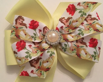 Belle Hair Bow, Beauty and the Beast Bow, Belle Hair Bow, Disney Princess Bow, Disney Hair Bows,  Princess Belle Bow with Rhinestone