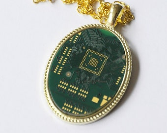 Recycled Circuit Board Necklace Pendant