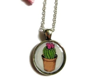 CACTUS NECKLACE - Cacti Charm Necklace - Desert Necklace - Gift for girl - Necklace for kids - Flower Girl Necklace