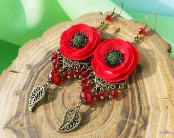 Earrings Poppy flower Floral Jewelry Handmade polymer clay Red Poppy Long earrings red flower Jewelry poppy Chandelier earrings Gift for her