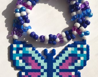 Butterfly Kandi Necklace Perler Rave Necklace