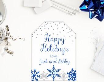 Christmas Gift Tags, Snowflake Tags, Christmas Tags, Printable Christmas, Personalized Tag, Holiday Tag, Label, Family Gift Tag, Blue Silver