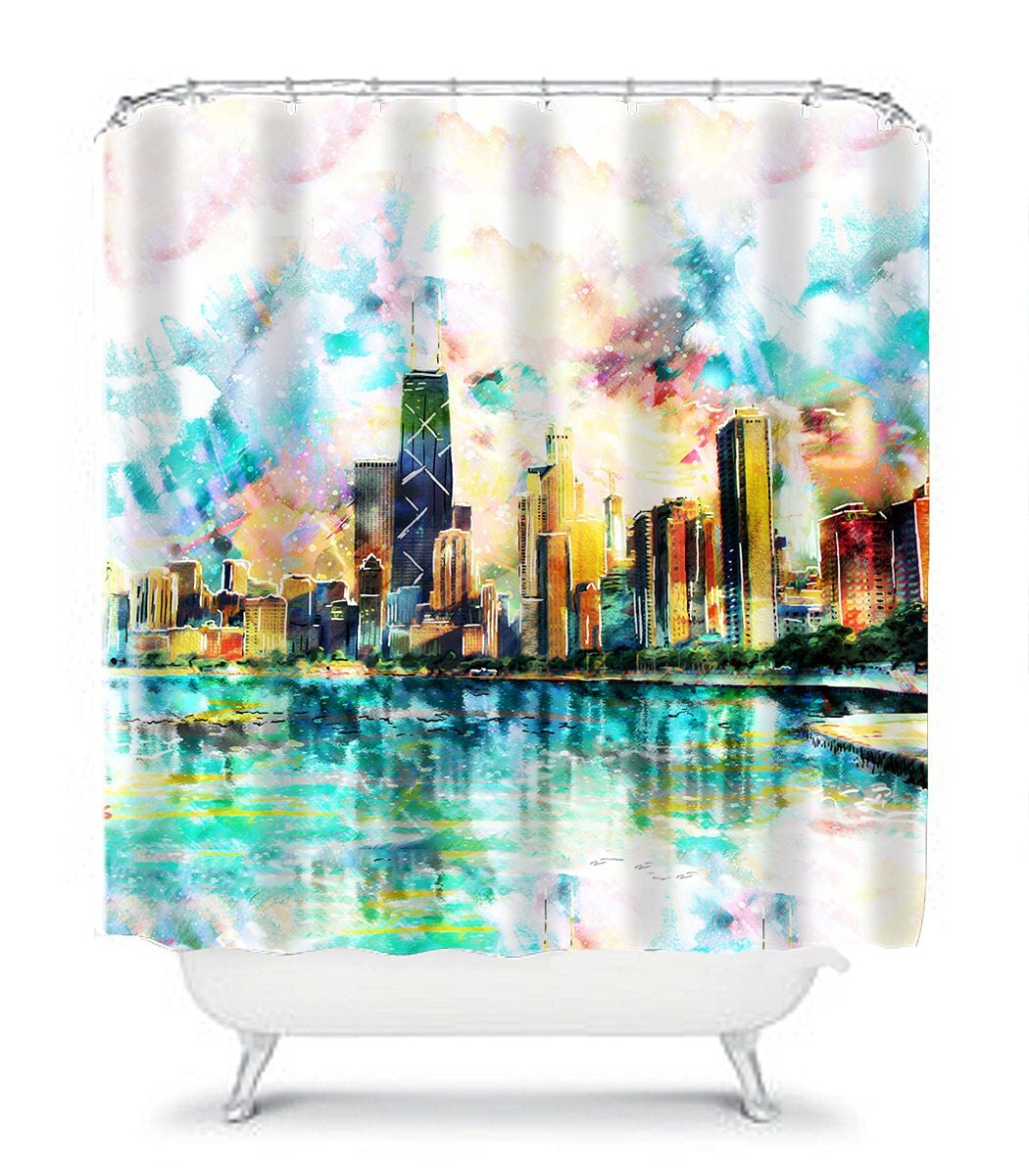 Chicago Skyline Shower Curtain Bed And Bath Decor Bathroom