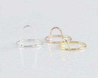 Open Round Ring • Dainty Arcs Ring • Round Stacking Ring • Geometric Ring • Dainty Stacking Rings  •  Mother's Gift