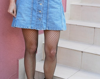 Vintage Woman Button Front Denim Jeans A Liner Skater High Waist Skirt