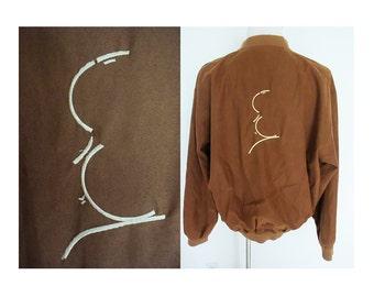 RARE vintage 80's 90's Alfred Hitchcock embriodered brown zip up bomber jacket