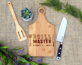 Personalized Grill Master Cutting Board, Paddle Board, Cheese Board, Custom, Laser Engraved, Grilling Gift, Gift for Dad, Father's Day Gift