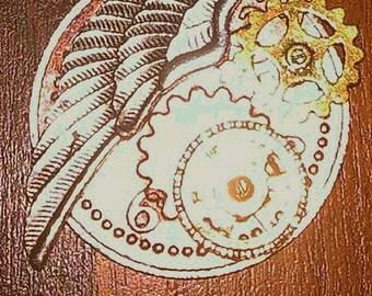 Winged Steampunk cog charm choker, steampunk jewelry, choker jewelry, valentines gift, vlanetines day