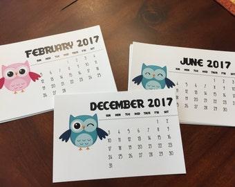 2017 Owl Desk Calendar \ 12 months January thru December \ optional Clear Stand or Easel