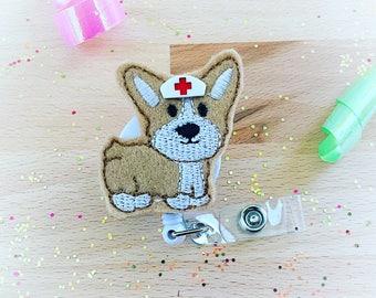 Feltie Badge Reel - Welsh Corgi -  Badge Holder - Retractable Badge Reel - ID Badge Clip - Nurse - RN Badge -  Badge - Mysweetbadge