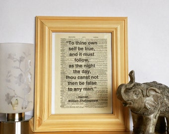 """5x7 Vintage Dictionary Page Art Print - """"To thine own self be true"""" Shakespeare Hamlet- Positive Motivational Quote (Unframed)"""