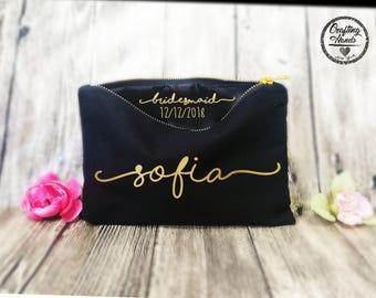 Bridesmaid Makeup Bags, Secret message, BLACK makeup bags, cosmetic bags, personalized gift, tote bag, bridesmaid gift , Lingerie Bag