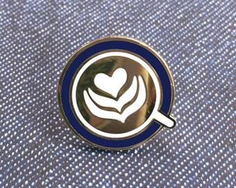 Latte Heart Enamel Lapel Pin