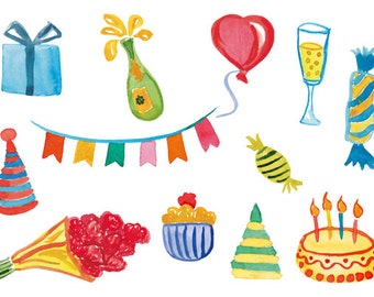 12 Watercolor Cliparts, Birthday Clipart, Watercolor Birthday, Handpainted Clipart